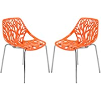 LeisureMod Modern Asbury Dining Chair with Chromed Legs, Orange, Set of 2