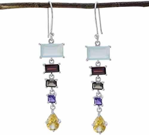 Solid Silver Blue Blue Topaz Good Gemstones Earring suppiler Jewelry fine Item Gift for mom Birthday Monogram Stack Earring RGPL Good Gemstones Faceted Blue Topaz Earrings