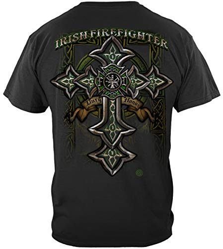 Celtic Cross Adult T-shirt - fire Fighter Shirts Men | Firefighter Irish Celtic Cross Green Shirt ADD157-FF2218-5XL