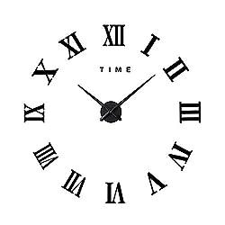 Frameless Modern Mute DIY Large Wall Clock 3D Sticker Home Office Decor Gift(Black)