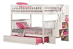 Woodland Staircase Bunk Bed with Raised Panel Trundle Bed
