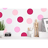 Polka Dot Wall Decals PINK Multicolor(220 2 inch Decals) Easy Peel and Stick Matte Finish Removable Decals Safe on Painted Walls