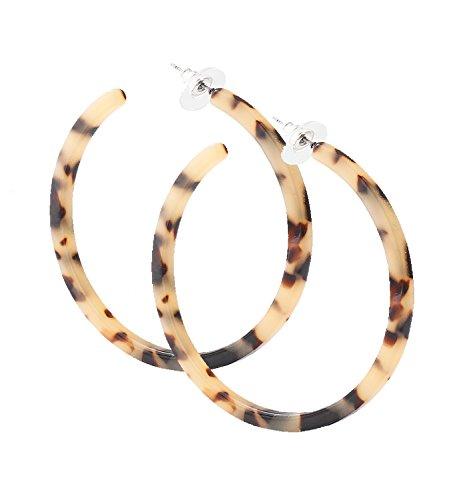 PHALIN Acrylic Hoop Earrings Tortoiseshell Acrylic Earrings Geometric Resin Earring Studs for Women Girls (A Leopard)