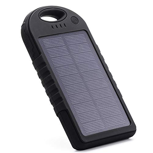 Portable Power Bank, Waterproof Solar Charger 12000 mAh with Dual USB Ports & Flashlight Battery Pack for All Mobile Phones (Black)