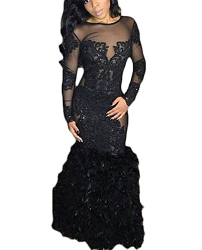63d2f9ccf44f ... Women's Sheer Long Sleeve Prom Dresses Black 2019 Mermaid Feather  Backless Formal Evening Ball Gowns. ; 
