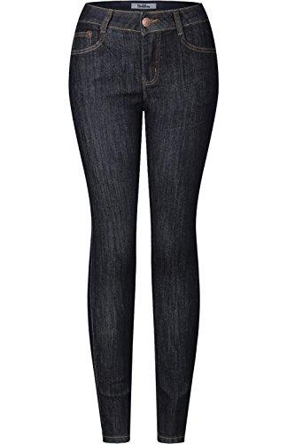 Womens Dark Blue Jeans - 2LUV Women's Stretchy 5 Pocket Destroyed Dark Denim Skinny Jeans Dark Denim 9