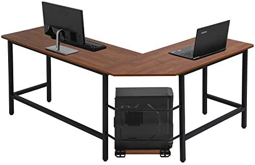 Computer Desk L Shaped Gaming Desk Corner Office Desk PC Wood Home Large Work Space Study Desk Workstation Brown