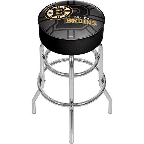 Trademark Gameroom NHL1000-BB-WM NHL Chrome bar Stool with Swivel - Watermark - Boston Bruinsa