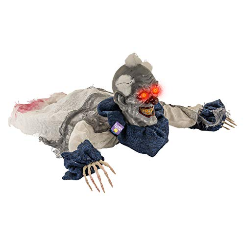 Halloween Haunters 2 Foot Animated Creepy Crawling Motion Clown Reaper Zombie Groundbreaker Moving Body LED Eyes Prop Decoration - Scary Spooky Howls, Laughs - Haunted House Party Display ()