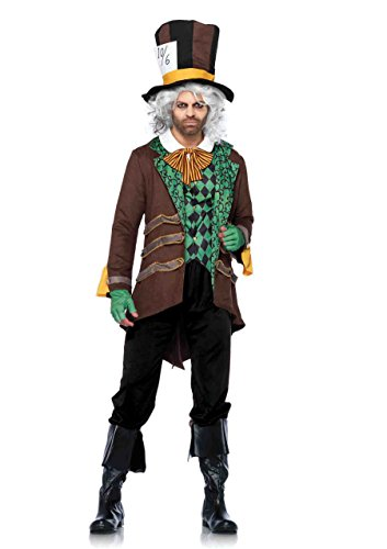 Classic Mad Hatter Set (5 PC. Men's Classic Mad Hatter Jacket Set - Medium/Large - Brown/Green)