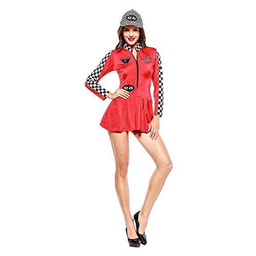 Xingsiyue Womens Long Sleeve Bodycon Dress Checkered Racer Cheerleader Costume]()