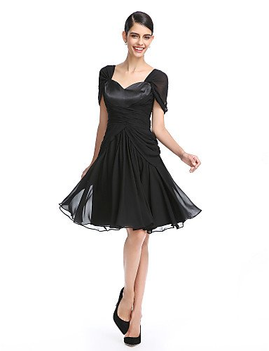 de gasa cóctel Criss rodilla Dress Cross Prom de la con Homecoming AIURBAG de Ruching Una longitud línea w0W1ES