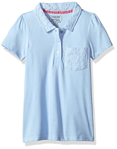 CHEROKEE Little Girls' Uniform Short Sleeve Polo with Lace Pocket and Collar, Light Blue, 6x