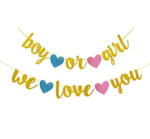 Famoby Gender Reveal Party Gold Glittery Boy or Girl We love you Banner for Baby Shower Party