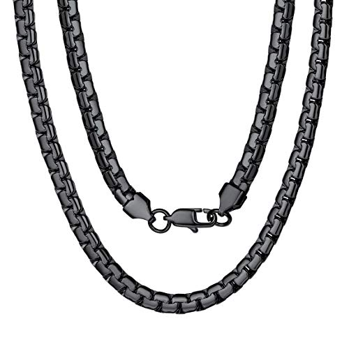 Black Chain (Black Metal Chain Long Stainless Steel Necklace Boys 28 inch)
