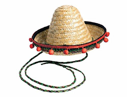 Circus Sweetie Mini Top Hat (Small Straw Sombrero Mexican Hat Cinco De Mayo Red Pom Poms Costume Accessory)
