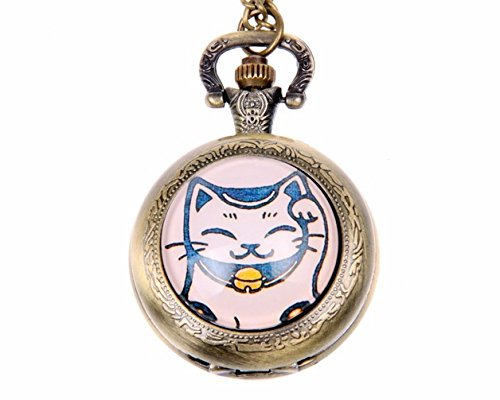 Chat Japonais Pocket Watch,Lovely Pocket Watch,Vintage Bronze Picture Necklace,Womens Jewelry,Best Friends Gift