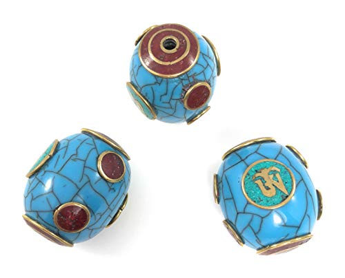 Tibetan Barrel Shaped Pendant Turquoise and Red Coral Loose Beads for Jewelry Making DIY Three Pieces per Package