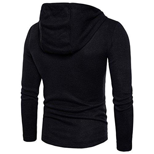 otoño invierno chaqueta de capucha Cardigan de Hombres Slim Top con abrigo de moda SHOBDW Diseñado Negro wqFEz5Iq