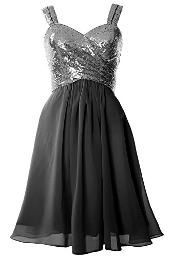 MACloth Gorgeous Sequin Short Bridesmaid Dress Cowl Back Cocktail Formal Gown Gray-Black