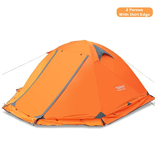 Azarxis 1 2 Person 3 4 Season Backpacking Tents Easy Set Up Waterproof Lightweight Professional Double Layer Aluminum Rod Tent for Camping Outdoor Hiking Travel Climbing (Orange - with Skirt Edge)