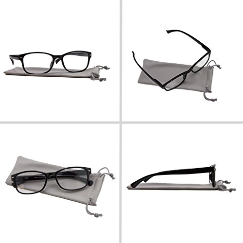 Reading Glasses 2 Pack Black_ Always Have a Timeless Look, Crystal Clear Vision, Comfort Fit With Sure-Flex Spring Hinge Arms & Dura-Tight Screws 100% Guarantee +2.00 by TruVision Readers (Image #5)