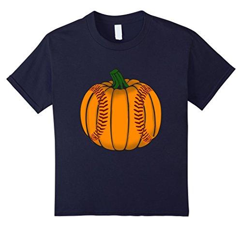 Kids Funny Pumpkin Baseball Sports Lover Halloween T-Shirt 12 Navy