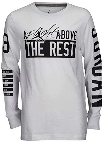 Nike Air Jordan Boys' Above The Rest Long Sleeve T-Shirt (White, Large)