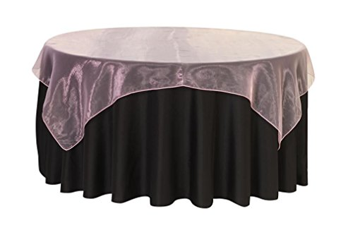 Your Chair Covers - 72 inch Square Organza Table Overlay Pink, Lightweight Sheer Organza Table Cloths