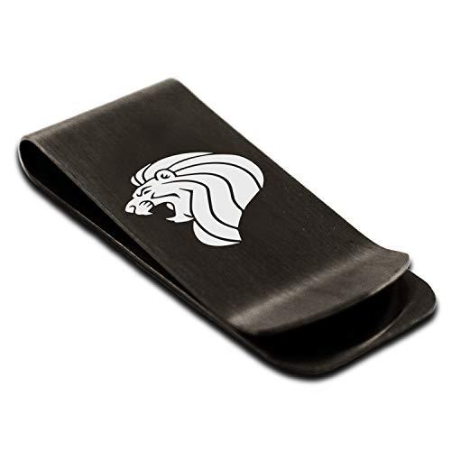 Matte Black Stainless Steel Lion Money Clip Credit Card Holder