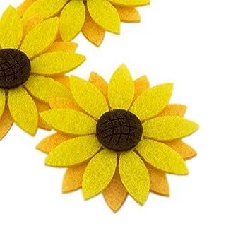 "Summer-Ray 20pcs 2"" Triple Layered Felt Laser Sunflower Cutout Embellishment"