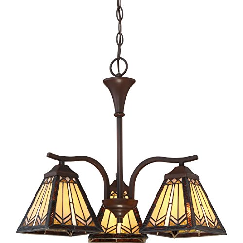 Quoizel TST2575A Illumina 3-Light Chandelier in Russet (Chandelier Stained Glass Quoizel)