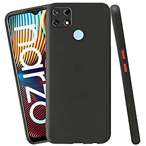 Jkobi Soft Silicon Camera Protection Back Cover Case for Realme Narzo 30A with Color Highligted Smoke Buttons (Black)