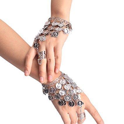 JingyangO Belly Dance Triangle Bracelet Coin Bracelet Gypsy Jewelry Hand Decoration Wrist Bangle Ring Silver ()