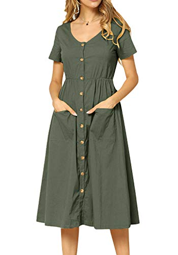 Women Summer Casual Plain Short Sleeve Loose Swing Work Midi Dress Army Green 4 ()