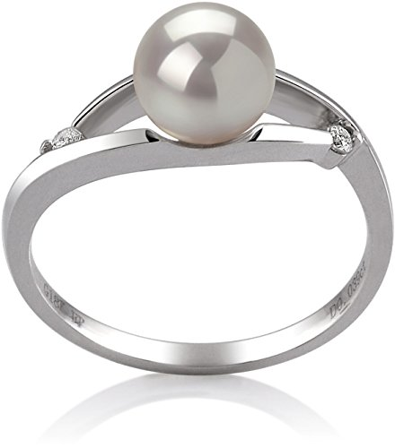 Tanya White 6-7mm AA Quality Japanese Akoya 14K White Gold Cultured Pearl Ring - ()