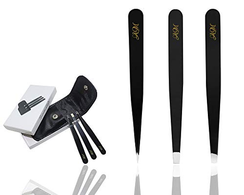 Tweezer Set of 3 - Stainless Steel - Slanted Pointed and Flat Tip for Eyebrows and Blackheads