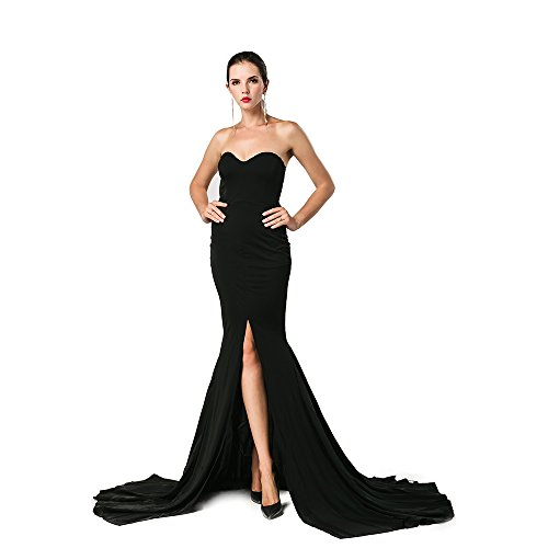Miss ord Missord Strapless Asymmetric Slit Front Wedding Evening Party Maxi Dress Small Black (Black Wedding Dress)
