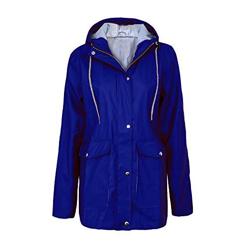Ciciyoner Blue da all'aria impermeabile Cappotto antipioggia invernale Giacca Impermeabile lunghe donna aperta lungo Cappotto resistente Blue1 Maniche rfrTxZ