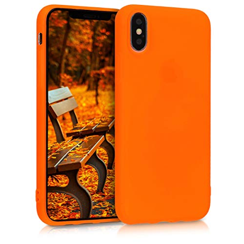 kwmobile TPU Silicone Case for Apple iPhone Xs - Soft Flexible Shock Absorbent Protective Phone Cover - Neon Orange
