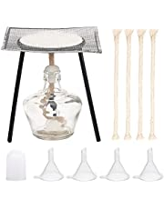 OLYCRAFT 12PCS Glass Alcohol Burner Set 150ml Glass Alcohol Lamp and Stand Kit Including Alcohol lamp, Tripod, Pad, Cord and Funnel Hopper Burner Lab Equipment