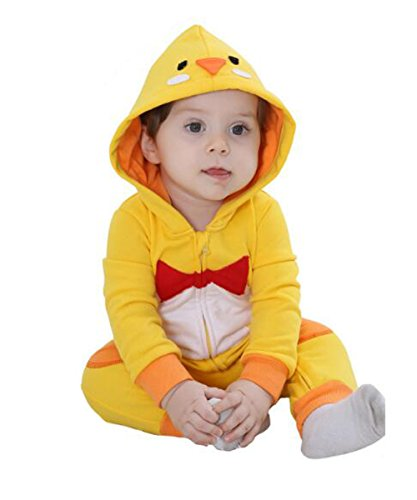 Tonwhar Unisex Baby Cartoon Animal Hooded Zip-up Rompers Jumpsuit