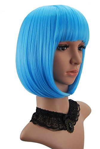 [eNilecor Short Hair Wig 14'' 36cm Straight Flat Bang Short Bob Hair Candy Color Cosplay Wigs Natural As Real Hair+ Free Wig Cap] (Blue Wigs For Women)