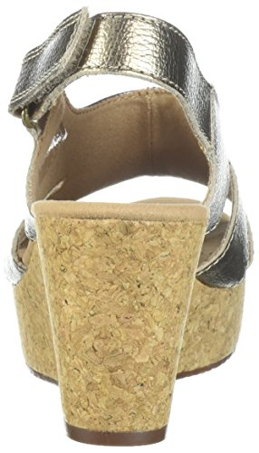CLARKS Womens Annadel Bari Platform, Gold/Metallic Leather, 8.5 Medium US