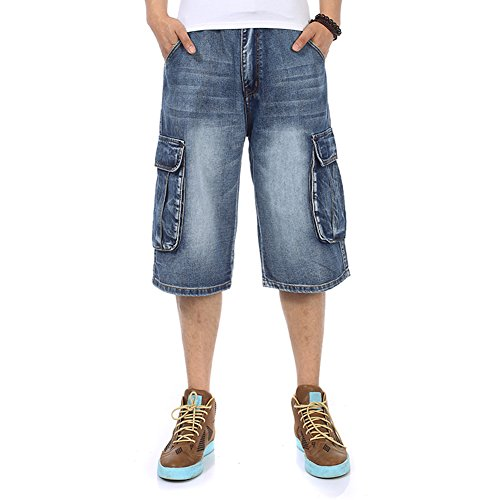 Big & Tall Men's Shorts Jeans Cargo Shorts Denim Hip Hop Relaxed Fit Casual Baggy Plus Size Waist 30-46W (Big Baggy Denim)