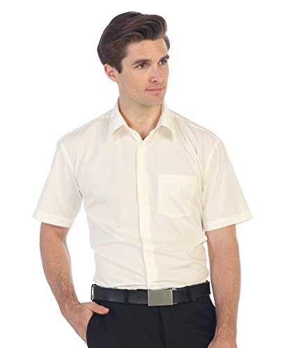 Gioberti Men's Short Sleeve Solid Dress Shirt, Ivory, - Shirt Ivory Mens