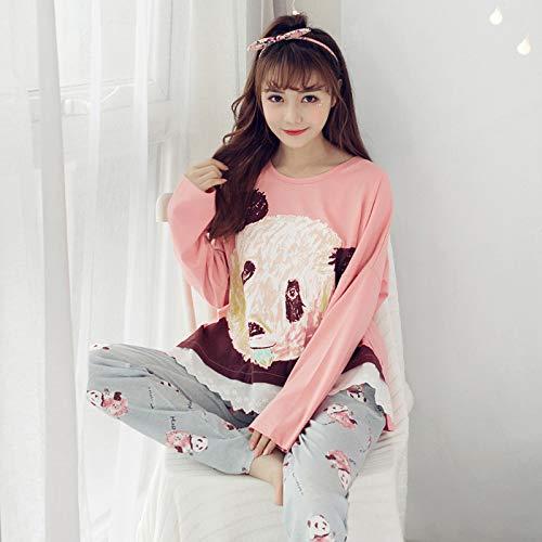 Modelos Servicio Domicilio M Mujeres Primavera size Coreanas Punto De Wilrnd Otoño Exterior Pijamas Las Desgaste A Traje Algodón Y Manga Home Simple Larga WRgnyz