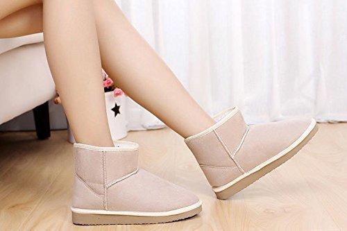 Minetom Mujer Zapatos Clásicos Botines Botas De Invierno Calentar Casual Cómodo Botas Beige
