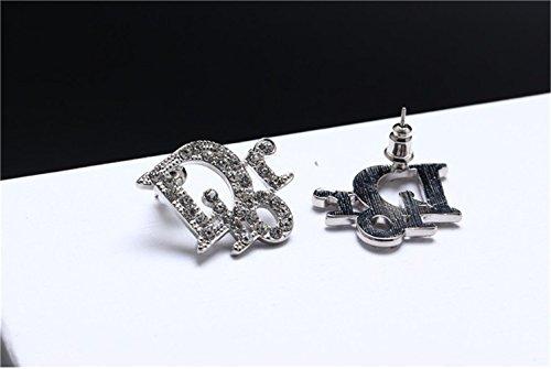 P.phoebus 18K White Gold Plated Vintage Swarovski Crystal Studs Earrings Rhinestones Dangle Charms Hoops for Women Girls (6)