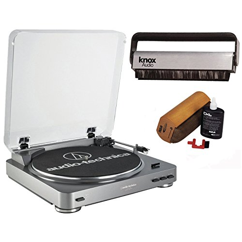 audio-technica-at-lp60-turntable-with-knox-carbon-fiber-vinyl-brush-and-cleaning-kit-silver